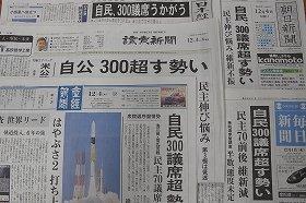 新聞各紙の1面トップには「300」という数字がおどった