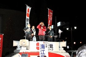 終盤調査では民主党の海江田万里代表が復調したとの見方も出ている