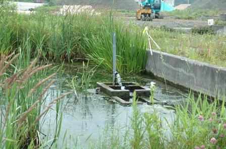震災後もこんこんと湧きだす湧水を生かす知恵が求められています=2014年6月22日、大槌町