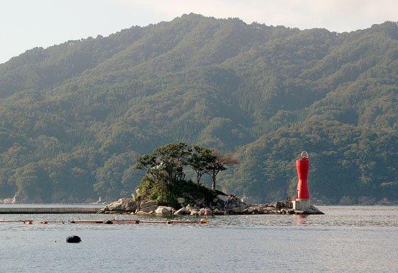 「ひょっこりひょうたん島」のモデルとされる蓬莱島=2014年8月31日、大槌湾