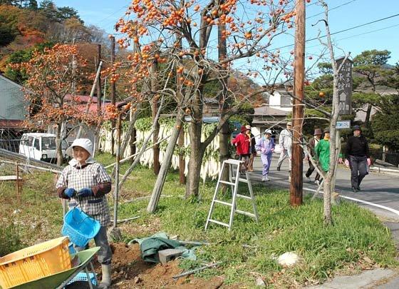 深まる秋の光景を見ながら散歩する参加者=2014年11月8日、大槌町小鎚