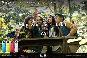 デジタルカメラ、「自撮り」用で巻き返しなるか? (画像は、リコーイメージング「THETA」のホームページ)