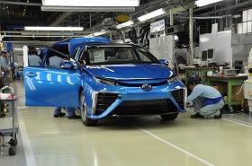 生産が始まったMIRAI。1日に3台しか生産できない