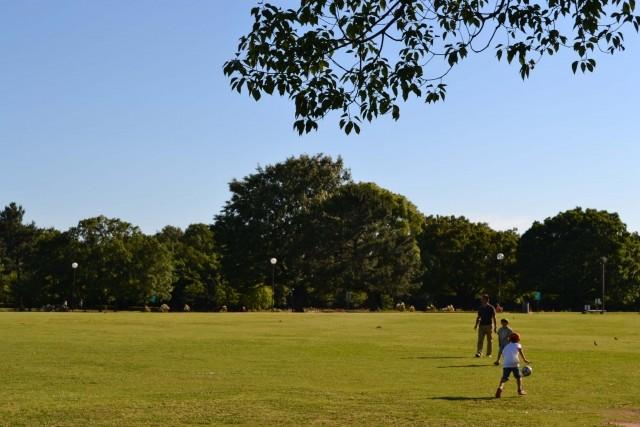 公園で父と息子がサッカーを楽しむ、ほほえましい光景が今後も続くか(写真はイメージ)