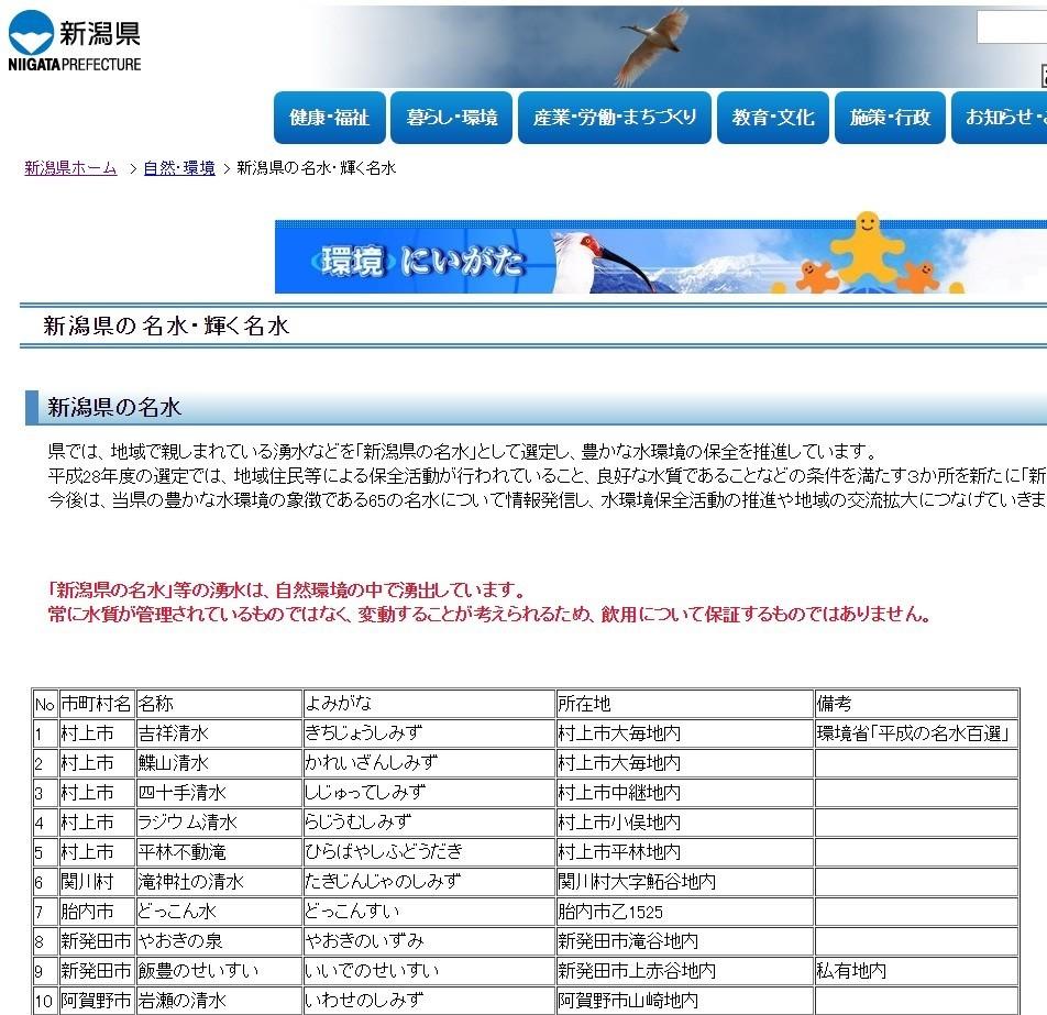 妙高「自慢の湧き水」で児童43人が食中毒 「名水もそのまま飲まないで」と新潟県