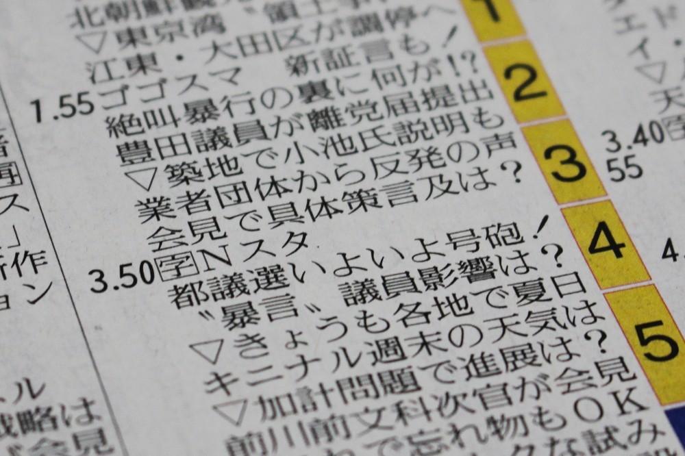 23日付朝刊のラテ欄。本来は豊田議員問題が取り上げられる予定だったが、実際には小林麻央さん死去関連のニュースがメインとなった