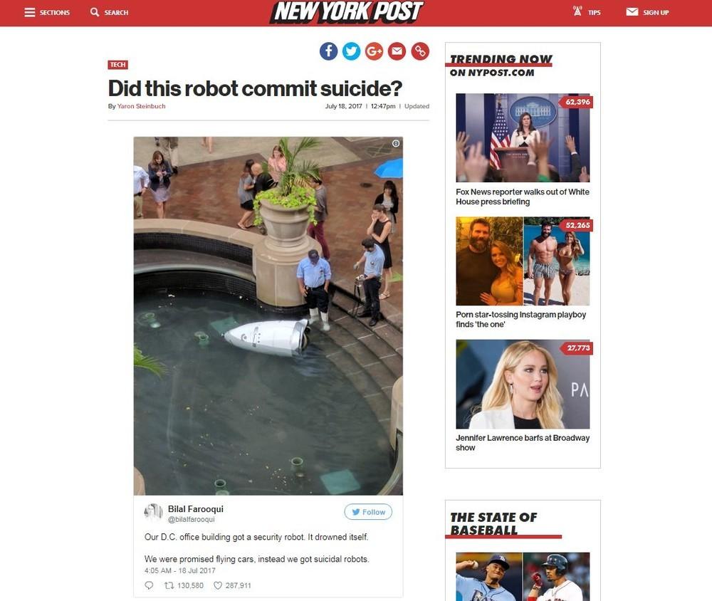 史上初、ロボットが「自殺」? 噴水に飛び込み...米国で珍事件