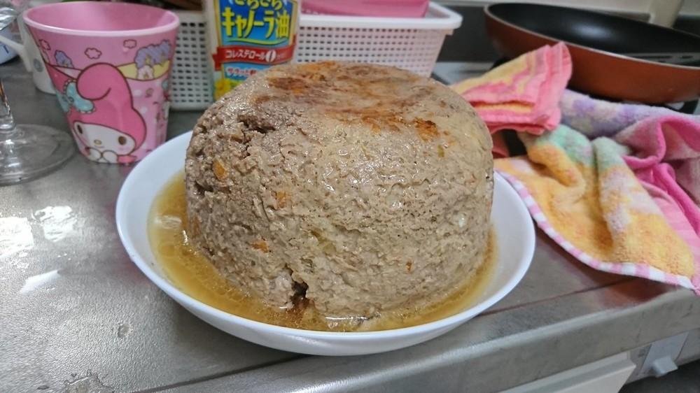 炊飯器で「ハンバーグ」作れるけど... 量を間違えるとこうなります