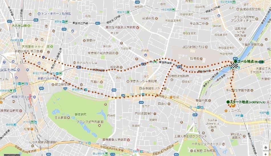 検証で走ったルート。オフィスのある麹町を出発点に、新宿駅前を経由して市ヶ谷駅まで戻ってきた(C)Google、ZENRIN