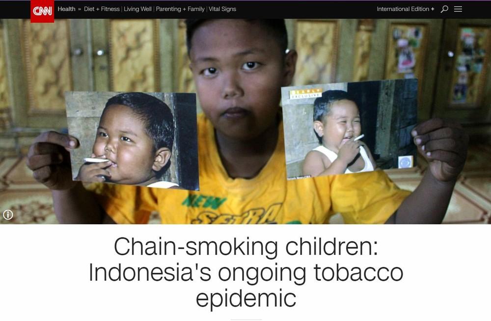 1日4箱タバコ中毒インドネシアの2歳児は今 禁煙治療を受け活発な普通の男の子に