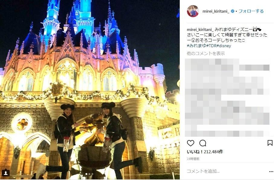 桐谷美玲&河北麻友子、ディズニーで双子コーデデート 「何だよこの二人組!」「ミッキーより会いたい」と大反響