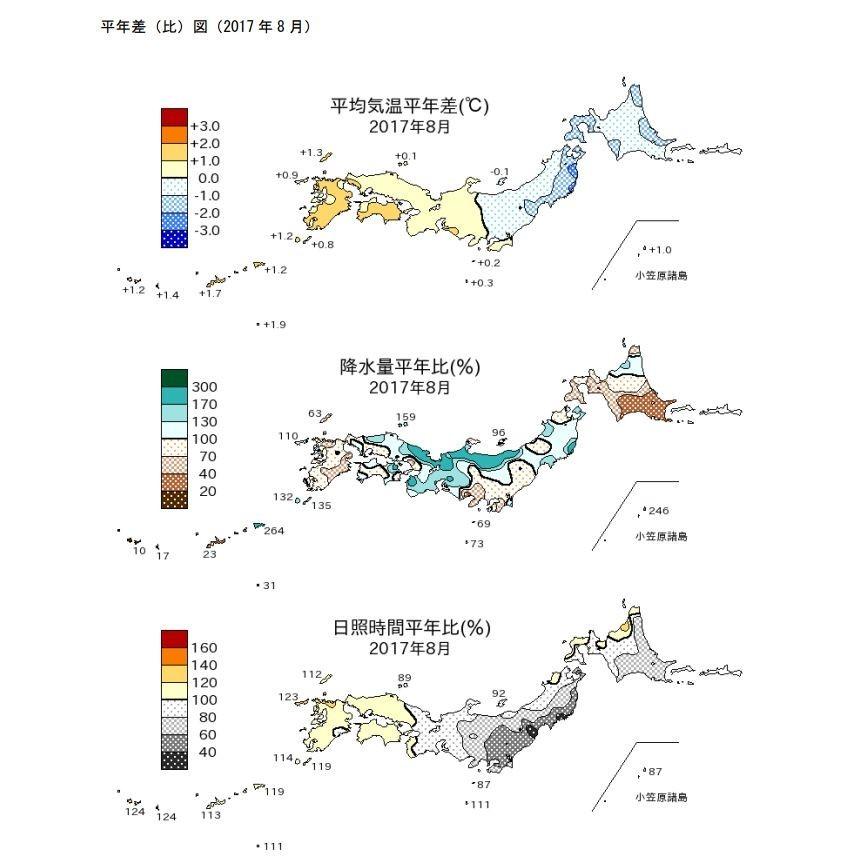 東日本はほとんど日が差さなかった8月(気象庁報道発表より)