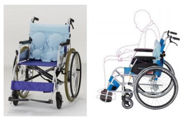 背中が丸くなる人の車椅子用クッション フランスベッド発売、空気を入れて調整