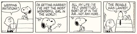 「ピーナッツ」原画(部分)1977年8月9日