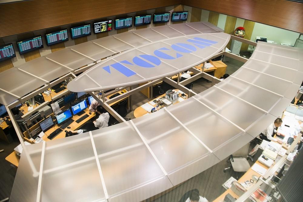 東京商品取引所の立会場。ここで売買取引が行われている