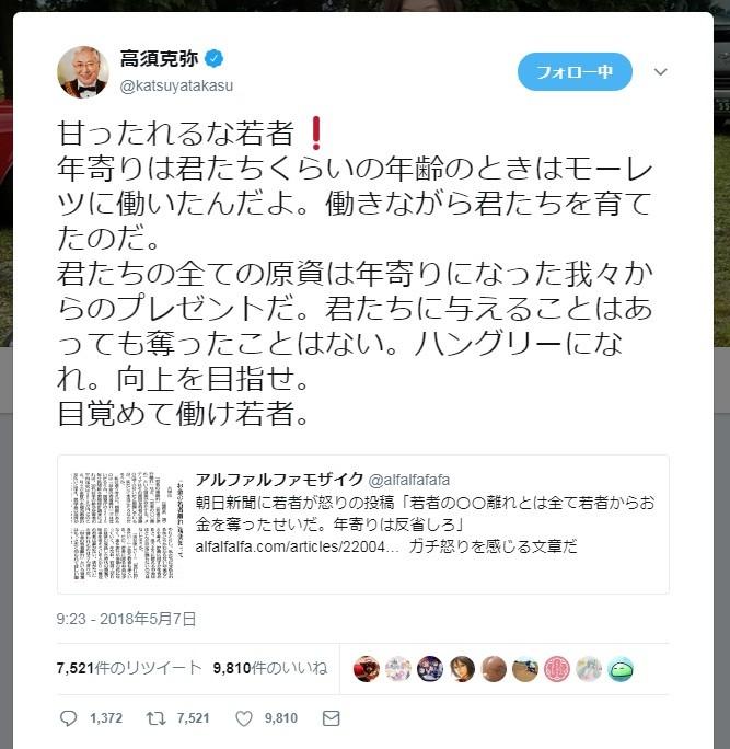 「甘ったれるな若者!年寄りはモーレツに働いた」 高須院長、ツイート炎上も猛反論