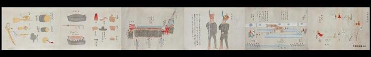 作者不明 1853(嘉永6)年頃 水彩画 1軸 27.4×232.6センチメートル