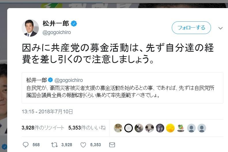 大阪・松井知事、共産党の募金は「先ず自分達の経費を差し引く」 抗議受け「申し訳ありません」