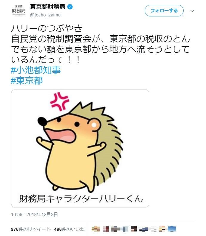 東京都マスコット「ハリーくん」が自民党にキレた 「とんでもない額を流そうと...」