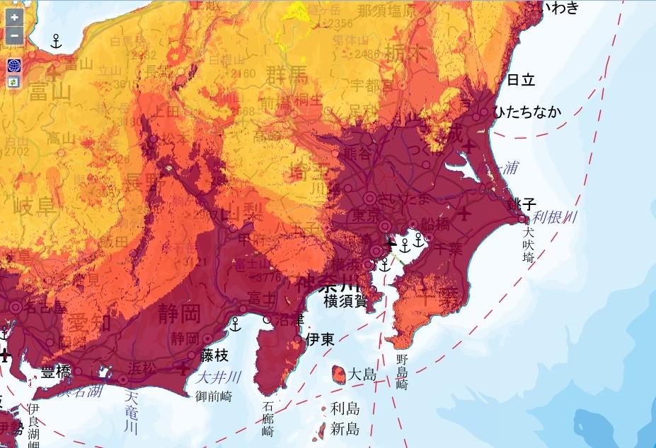 J-SHISより。地震動予測地図。東京はご覧のとおり真っ赤。(C)国立研究開発法人防災科学技術研究所
