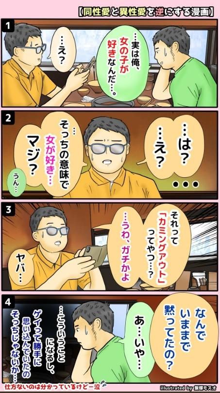 漫画の1ページ目(飯塚モスオさんのツイートより)