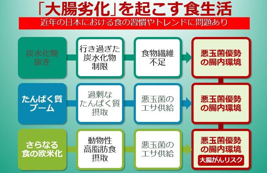 さまざまな原因で日本人の大腸が劣化しているという