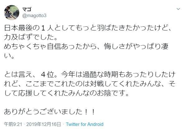 日本勢最上位に食い込んだマゴ選手のツイート。悔しさをにじませた