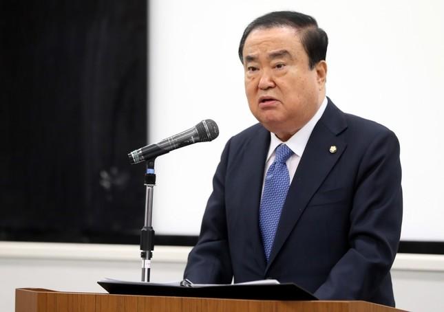 早稲田大学で講演する韓国の文喜相(ムン・ヒサン)国会議長(写真は韓国国会のウェブサイトから)
