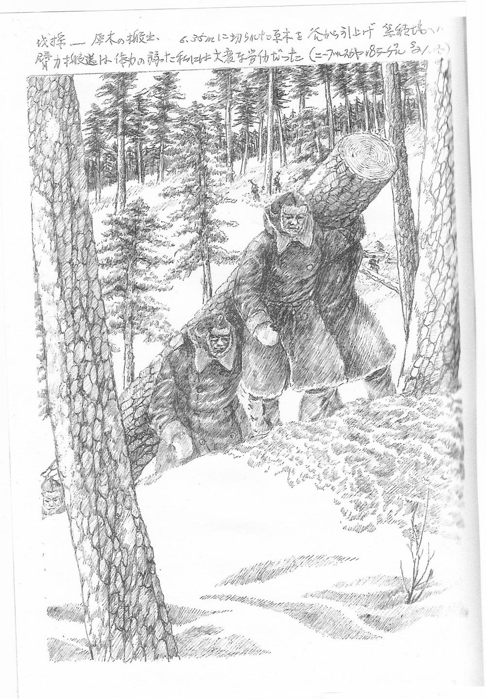 雪に足をとられながら原木を運び出す(山下静夫画文集『シベリア抑留1450日』デジプロより引用)