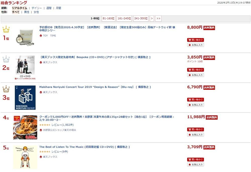 槇原敬之逮捕で「楽天通販」ランキング席巻 売れ筋トップ10に関連商品5作
