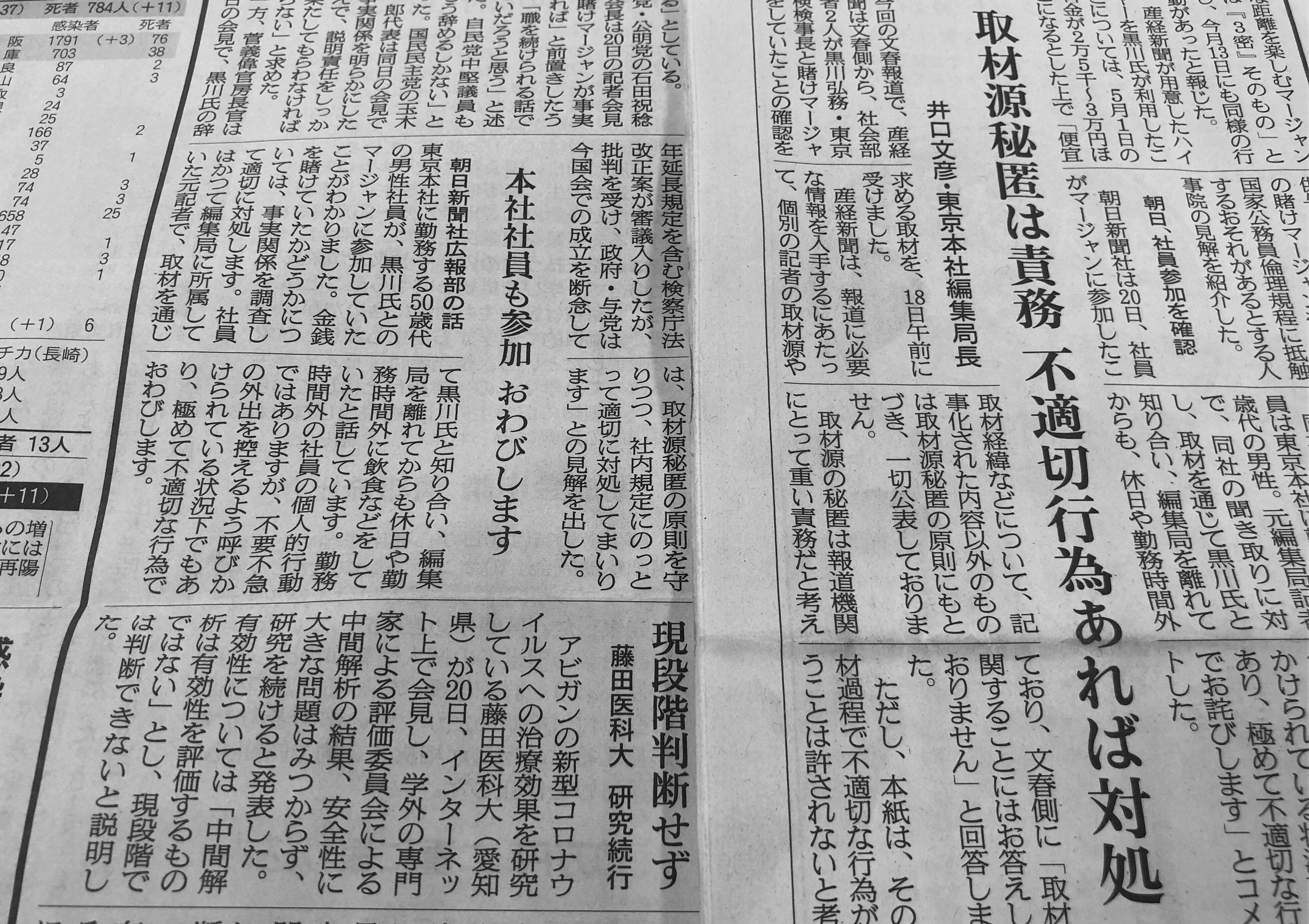 黒川氏「進退」、産経だけ朝刊で伝えず 同じ「当事者」朝日と比べると