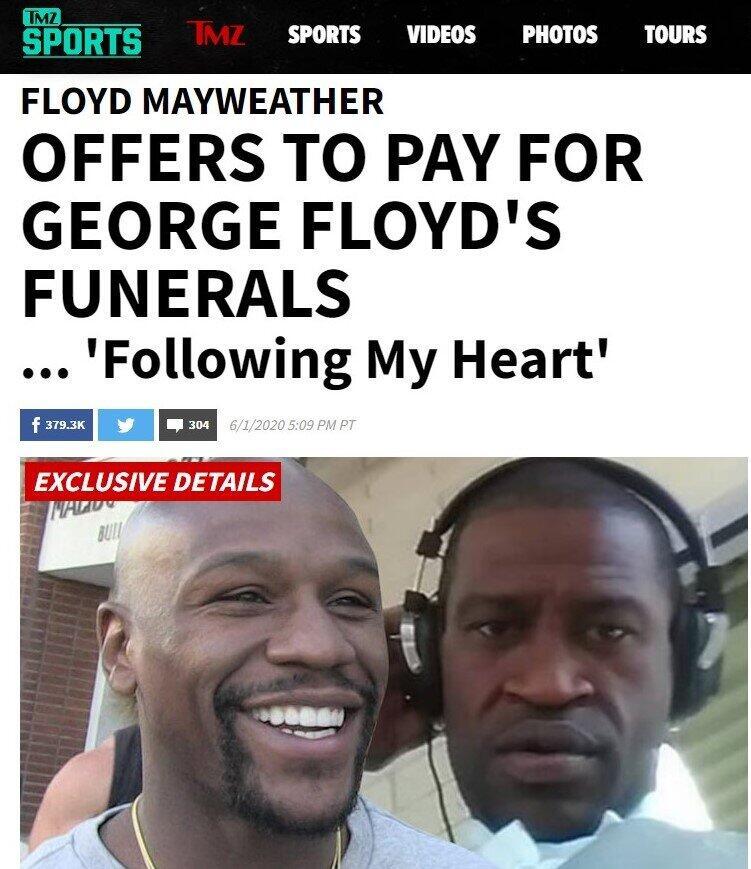 フロイド・メイウェザー氏、葬儀費用に8万8500ドル小切手 米黒人男性暴行死事件