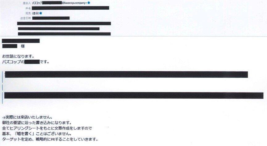 バズコップ社からのメール、送信者は後述のY氏