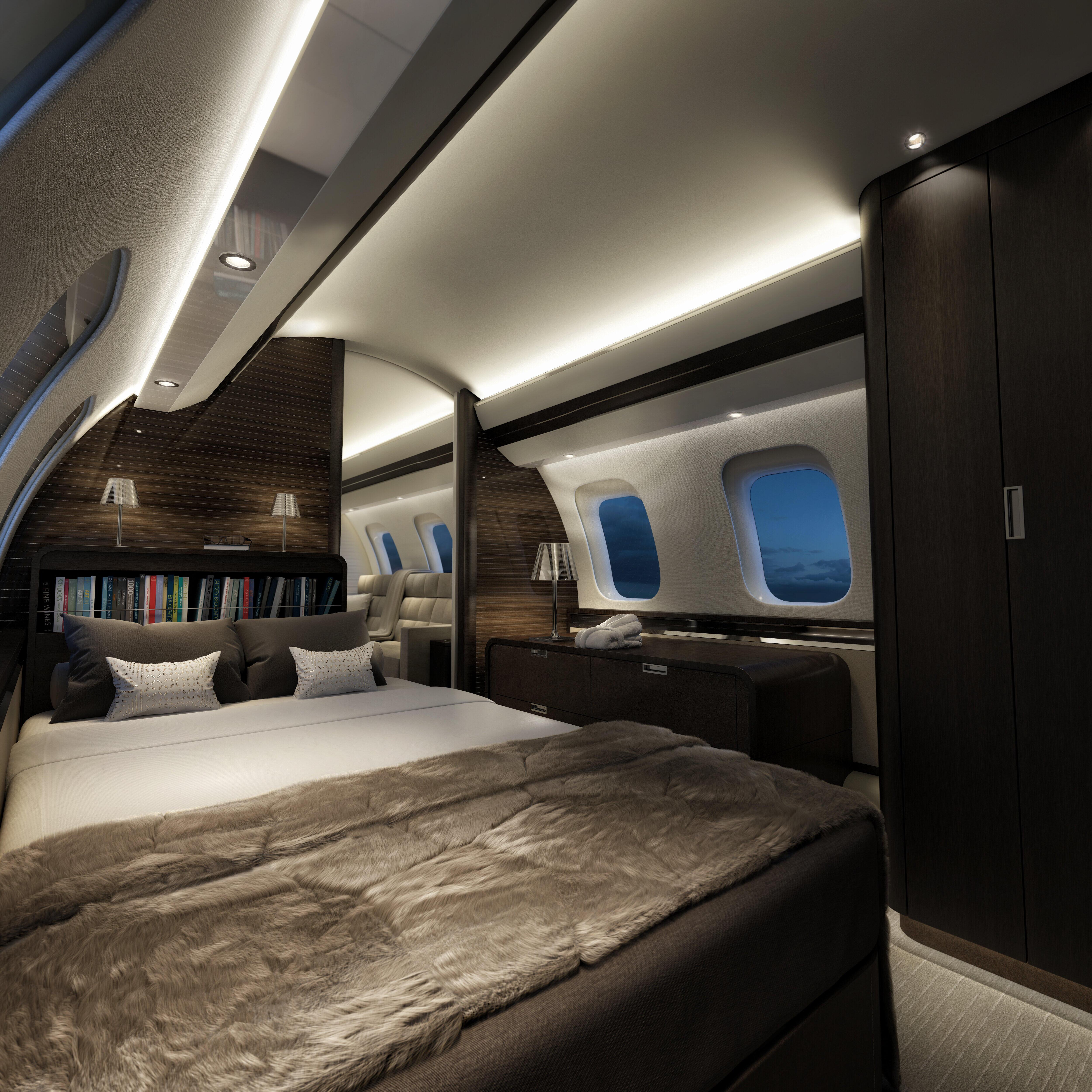 乗客十数人が乗れるボンバルディア製「Global 7500」は機内にベッドも備え付けている(ANAビジネスジェット提供)