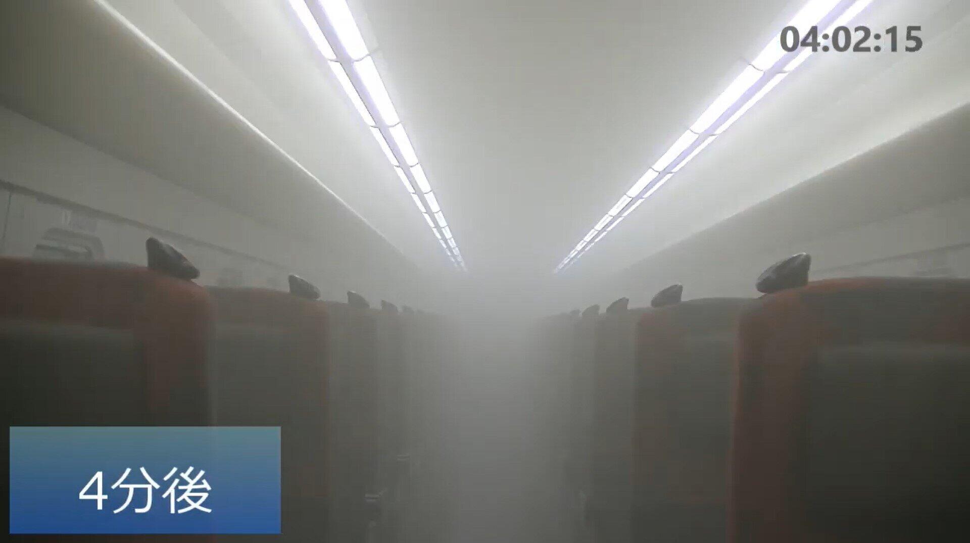 北陸新幹線車内で行った換気システムの実験の様子(JR西日本提供の動画から)