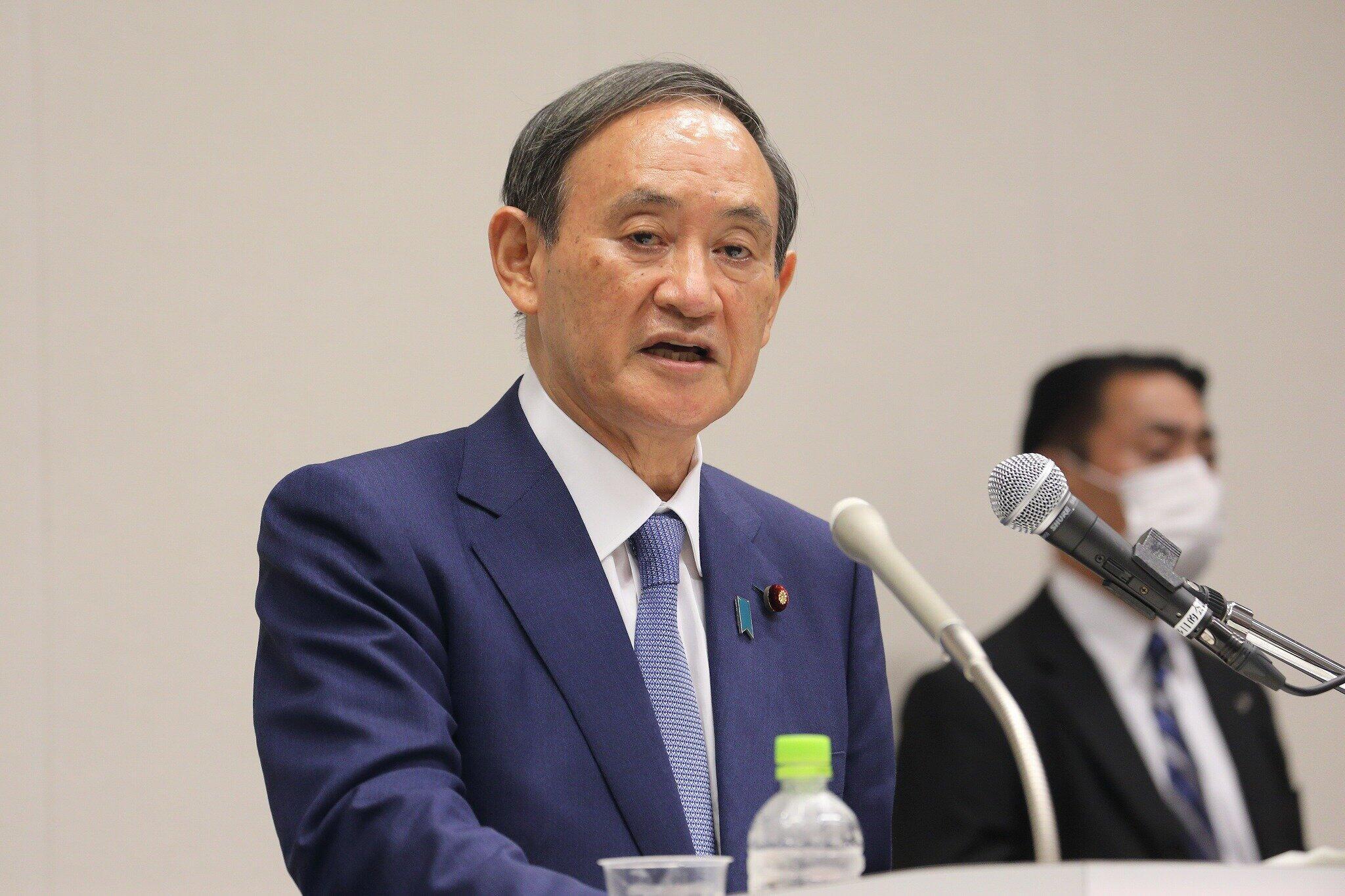 記者会見で自民党総裁選への出馬を正式に表明した菅氏(2020年9月2日)