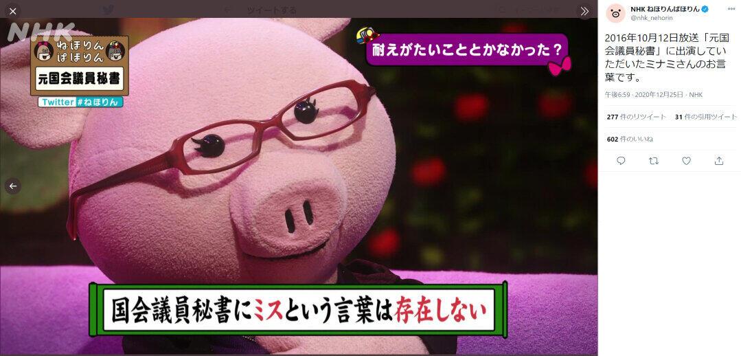 NHK・Eテレ人気番組が菅氏会見の真っ最中に... ねほりんぱほりん「議員秘書」ツイートの意味深