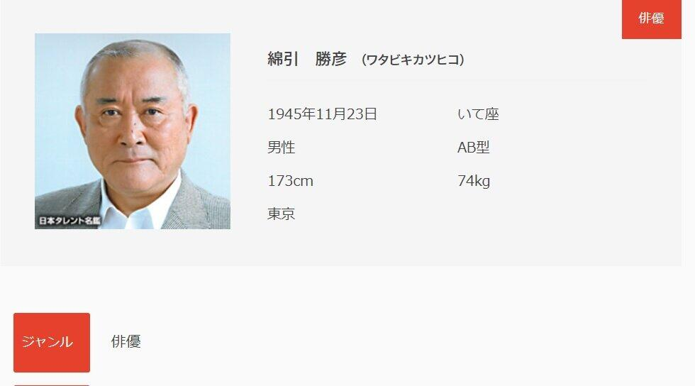日本タレント名鑑(VIPタイムズ社)サイト掲載の綿引勝彦さんプロフィールより