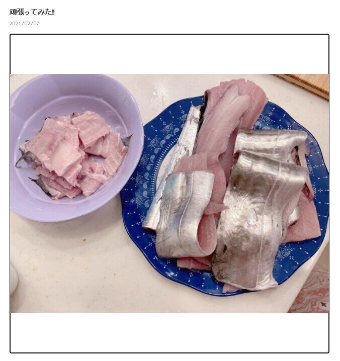 辻さんが捌いた太刀魚(ブログのスクリーンショット)