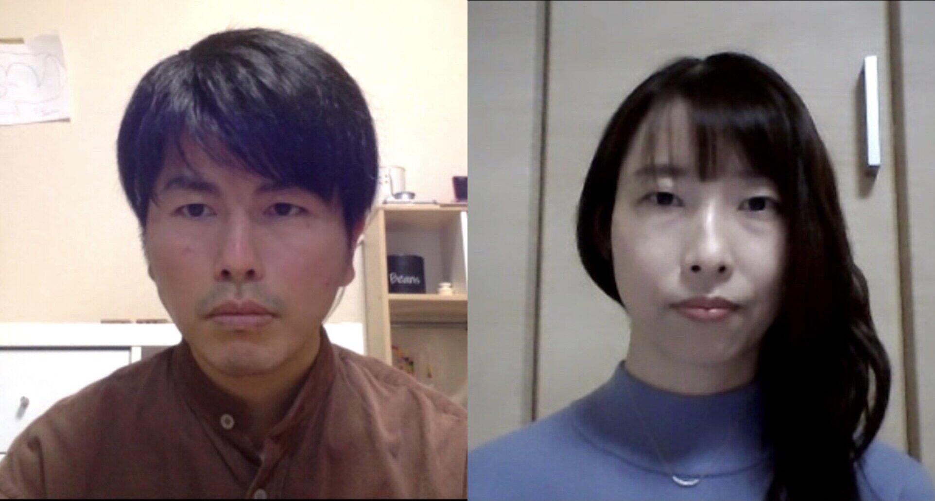 オンライン取材に答えた松永拓也さん、小沢樹里さん(左から)