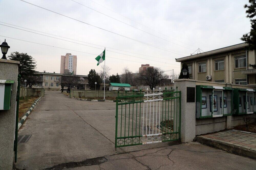 ナイジェリア大使館は、国旗を掲揚したまま外交官が北朝鮮を脱出した(在北朝鮮ロシア大使館のフェイスブックから)