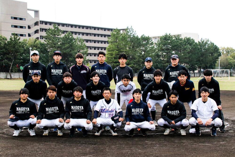 名工大硬式野球部の選手たち。最前列中央が加藤選手
