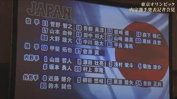 発表されたメンバー。会沢は左足の故障で6月16日に1軍登録を抹消され、代わりに阪神の梅野が選出された(侍ジャパンYouTubeより)