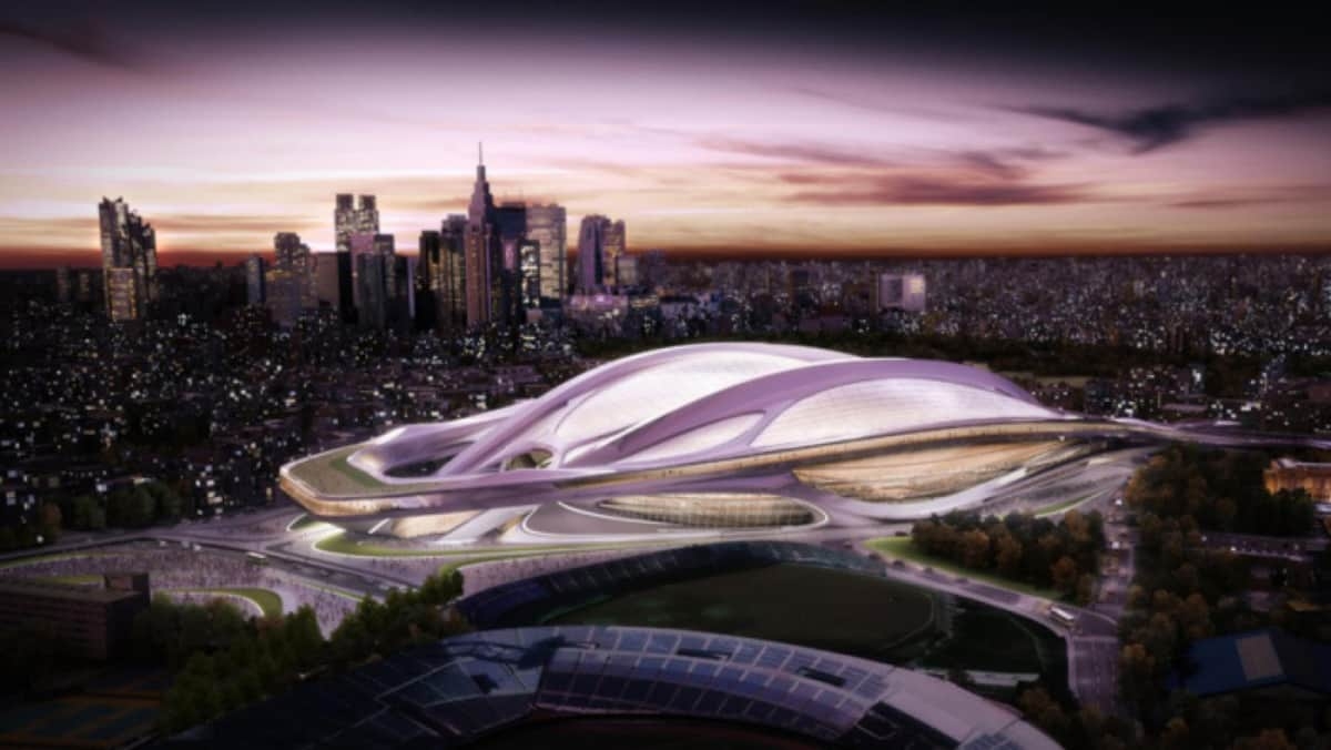2012年11月には新国立競技場のデザインにザハ・ハディド氏の案が採用されたが、15年7月に安倍晋三首相(当時)が白紙撤回した(提供:Zaha Hadid Architects/EyePress/Newscom/アフロ)