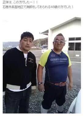 サンドウィッチマン・富澤たけしさんと並ぶ坂下さん(伊達みきおさんのブログから)