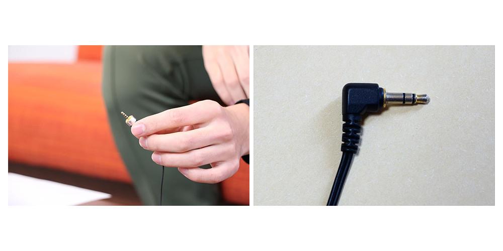 左/ゆーろさんのJust earのプラグ。期間限定販売されていたJust earの4芯ケーブルを、バランス出力ができる音楽プレーヤーからの4接点の信号が受けられるようにカスタマイズされている。右/こちらは一般的なイヤホンやヘッドホンのプラグ。2つの黒い絶縁体で区切られた3接点となる。「3極タイプ」とも呼ばれる。