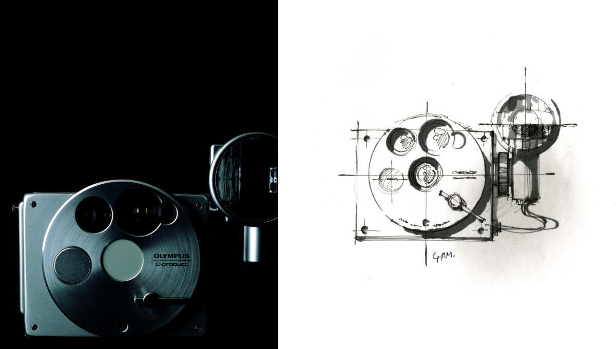 山中さんと坂井さんが初めて一緒に手掛けたオリンパス「O-product」。右は山中さんのスケッチ 写真:清水行雄