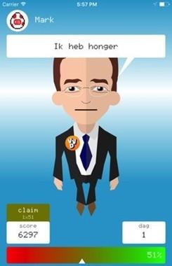 「お腹が減った」と訴えるVVD党党首で現首相のMark Rutteに扮したキャラクター