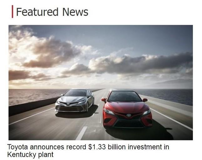 トヨタ、米ケンタッキー工場に追加投資