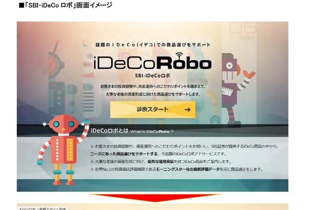 SBI証券が「SBI‐iDeCoロボ」サービスを開始